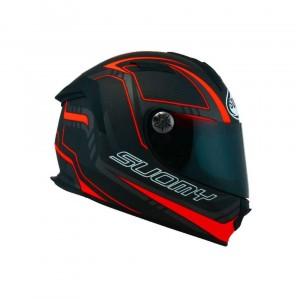 KASK SUOMY SR SPORT CARBON BLACK/FLUO RED MATT M